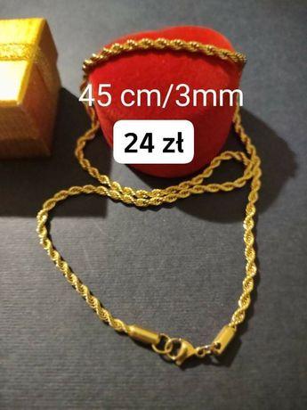 Złoty łańcuszek, stal chirurgiczna, dł. 45/szer. 3mm
