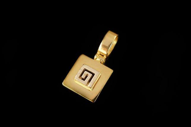 Złoto 585 - złota zawieszka CELEBRYTKA Grecki Wzór.