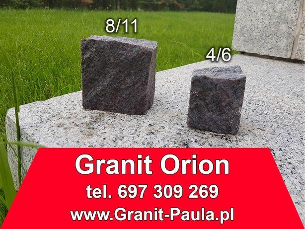Kostka granitowa 8/11 i 4/6, niebieski granit Orion, kostka brukowa