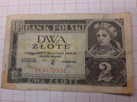 Banknot 2 złote 1936r seria AA