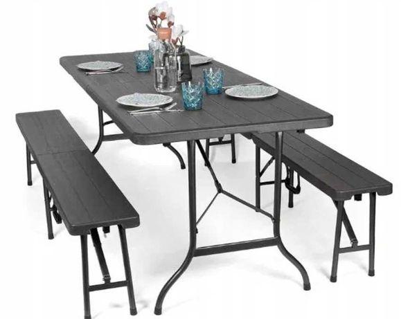 Składany zestaw ogrodowy stół+dwie ławki CZARNY