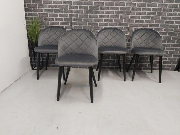 Nowe krzesła tapicerowane szary welur.
