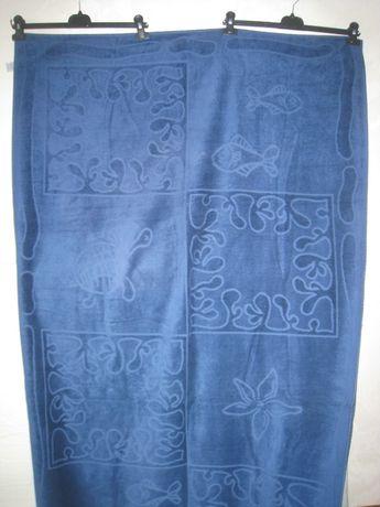 Пляжный коврик полотенце махровое синее