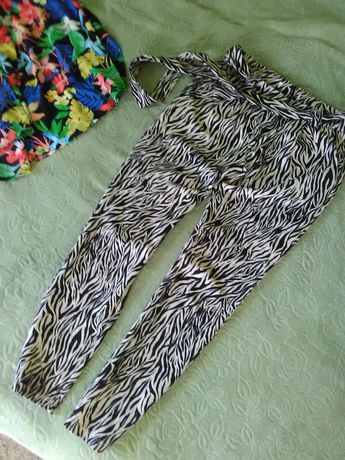 Летние брюки Zara зебра s, m 34 36 легкие