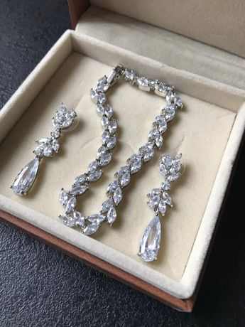 NOWY NIE NOSZONY KOMPLET biżuterii ślubnej okazjonalnej wieczorowej