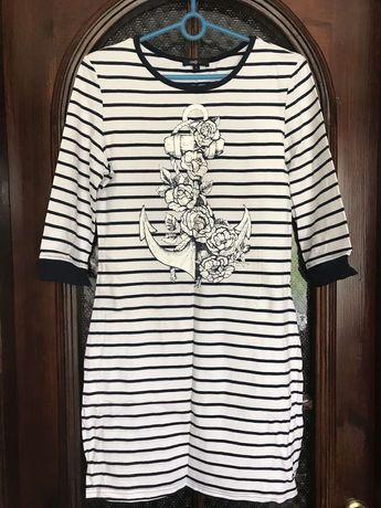 Платье в полоску, морской стиль, размер Л, Oodji