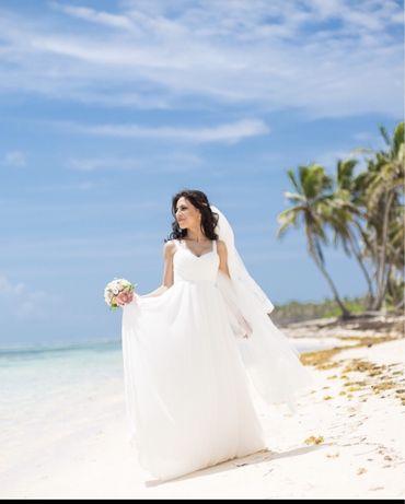Свадебное, шифоновое платье