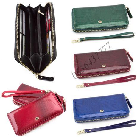 Красный женский кожаный кошелёк в лаке на молнии ST Leather