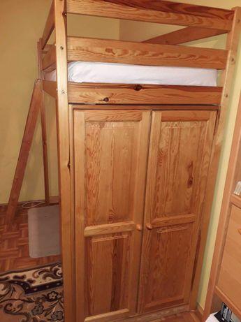Łóżko piętrowe, biurko, regał szafa 4w1 lite drewno sosna lakier