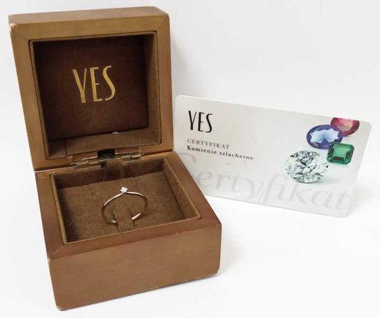 Wyrób jubilerski używany - złoty pierścionek YES 585/r13 DIAMENT