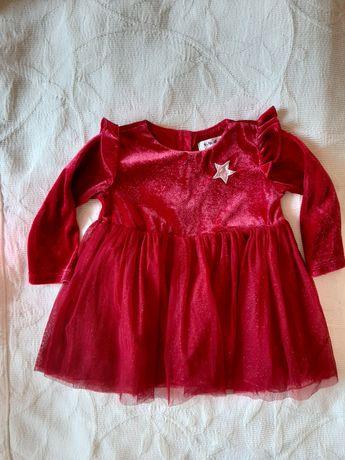 Elegancka czerwona sukienka r.74 r.68