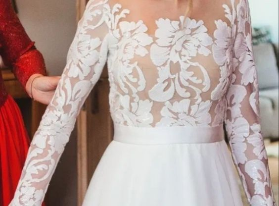 Suknia ślubna nowa kolekcja! rękawy koronka rozmiar 38