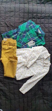 Koszula Zara banany żółte spodnie slim 98 104 Gratis t-shirt