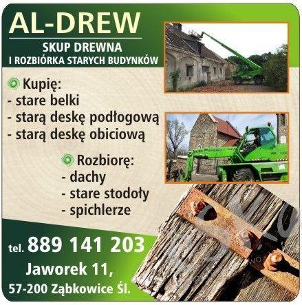 Rozbiórki stodół z wywozem gruzu, skup starego drewna, deski, belki