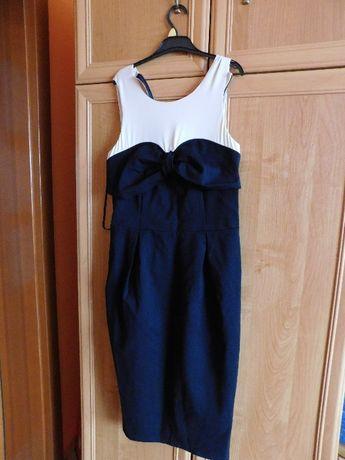 Sukienka midi z kokardą 36 czarno beżowa