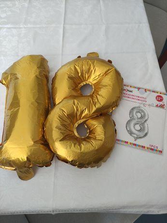 Balões decorativos dourados 35cm 18 anos