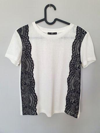 Nieużywana biała bluzka Zara wizytowa elegancka 36 s czarna koronka
