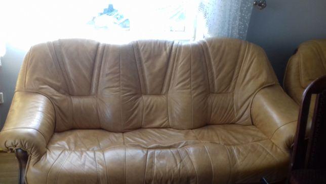 Wypoczynek kanapa+2 fotele skóra naturalna