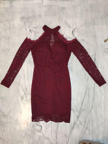 Sukienka koronkowa bordo bordowa na szyję bez ramion