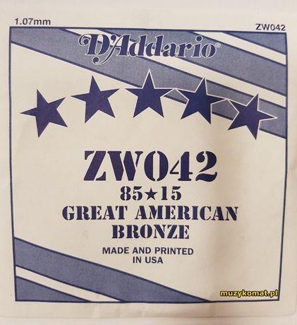 ZW042 pojedyncza struna do gitary akustycznej i elektrycznej D'Addario