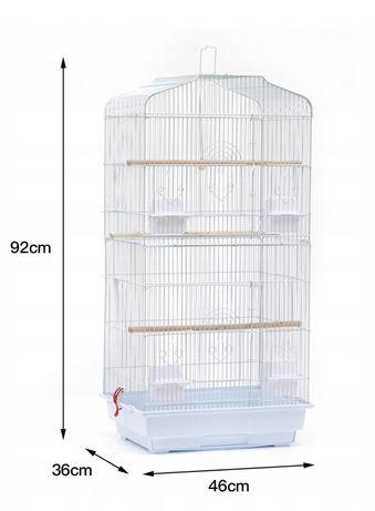 Klatka woliera duża XXL (biała) dla ptaków papug 92cm NOWA-ostatnia