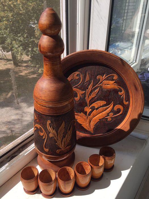 Набор сувенирный деревянный «Графин со стаканами и блюдом» Запорожье - изображение 1