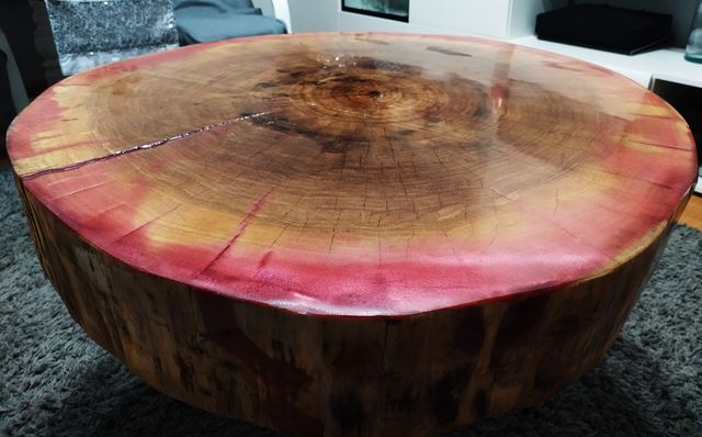 Stolik kawowy, plaster. Stolik do salonu, Stolik z drewna. Loft