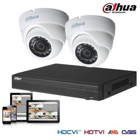 Kit vigilância CCTV dvr hdmi dahua + 2x cam exterior domo ip67 1mp