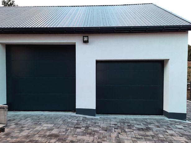 Brama garażowa segmentowa 3000x2500 antracyt klamka Czyste powietrze
