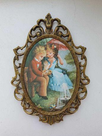 """Продам антикварную картину (шелкография): """"Дети"""", 24 x 15 см."""