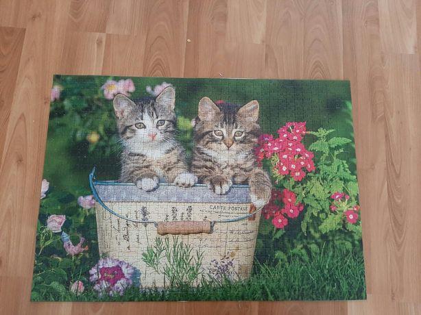 Złożone puzzle koty 1000 elementów  gotowe do antyramy