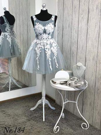 Szara sukienka rozkloszowana tiulowa z brokatem