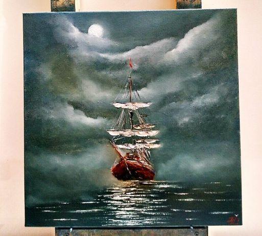 "Картина маслом "" Под лунным светом"" 40Х40"