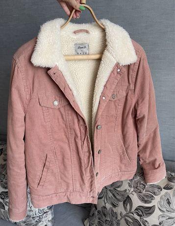 Вельветовая шерпа меховая куртка на меху