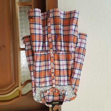 Брендовое платье рубашка 134 из хлопка