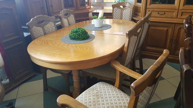 Stół dębowy rozkładany do 360 cm z 8 lub 6 krzesłami