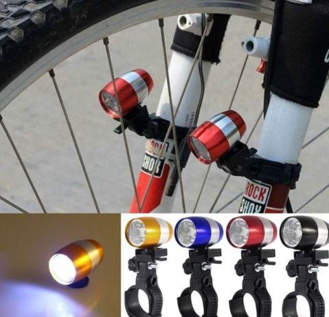 Мини фонарь на вилку велосипеда 6 LED с креплением фара велофара стоп