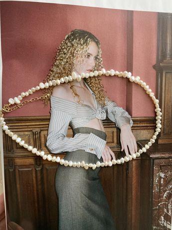 Ожерелье/чокер с натуральным пресноводным жемчугом