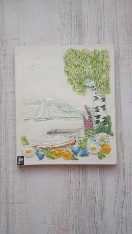 Obrazek ceramiczny, kafel, płytka ścienna Jie Gantofta vintage