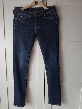 Jeansy spodnie dżinsy slim straight H&M 28 r.36 S ciemne niebieskie