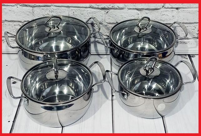 ⫸ Набор кастрюль. 4 кастрюли. Посуда. Кухонная утварь. Нержавейка