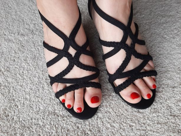 Sandały 37 Koturn New Look Czarne Buty Letnie
