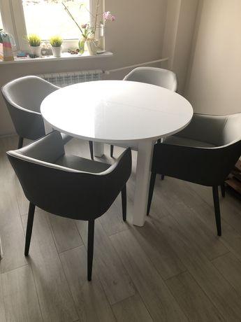 Pilnie Komplet stół bialy okragly lakier i krzesla tylko razem
