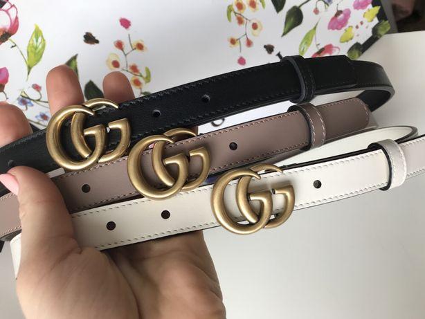 Gucci cienki pasek 2 cm skóra beżowy nude czarny biały rozmiary