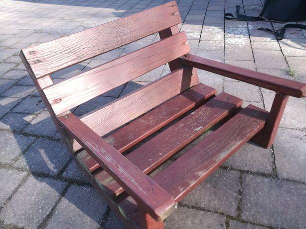 Drewniana ławeczka na huśtawke z oparciem huśtawka ławeczka