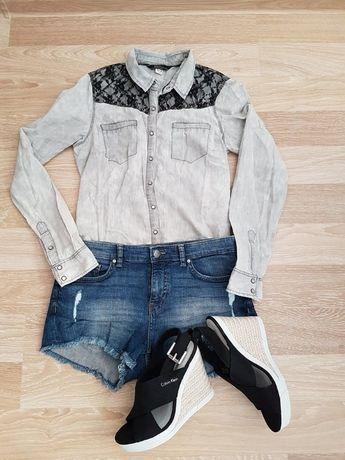 Koszula dżinsowa Bershka w kolorze szarym z czarną koronką