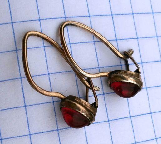 Серьги с рубинами серебро 875 проба звезда СССР