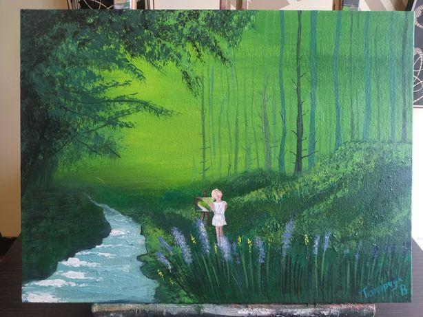 "Картина ""Девушка в лесу"""