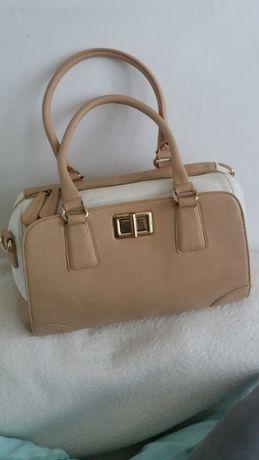 ALDO torebka kuferek beżowa biała złota duża a4 elegancka torba