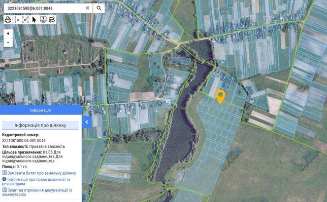 Продам участок 10 соток под садоводство у озера Бородянский район